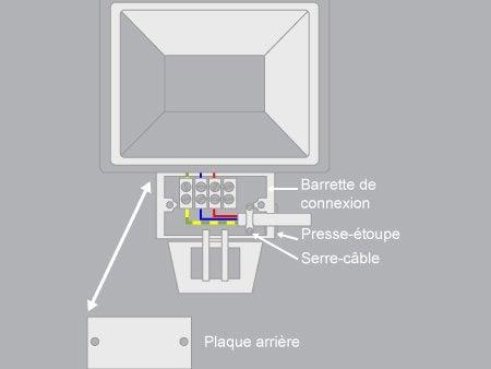 Comment brancher un projecteur avec un d tecteur de for Applique murale exterieur avec detecteur de mouvement leroy merlin