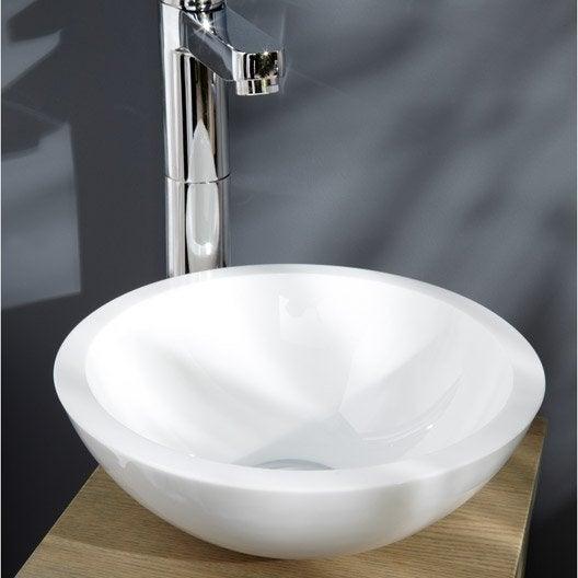Lave mains verre blanc x cm eva leroy merlin for Meuble lave mains leroy merlin