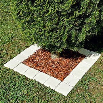Pavé pierre reconstituée Touraine, blanc L.12 cm x l.12 cm x Ep.20 mm