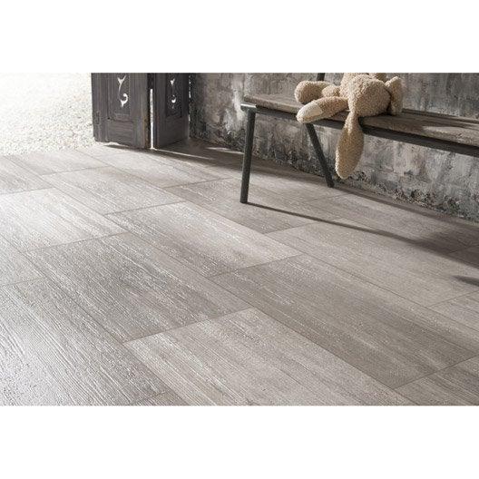 Carrelage sol et mur gris effet bois Way l.30 x L.60 cm