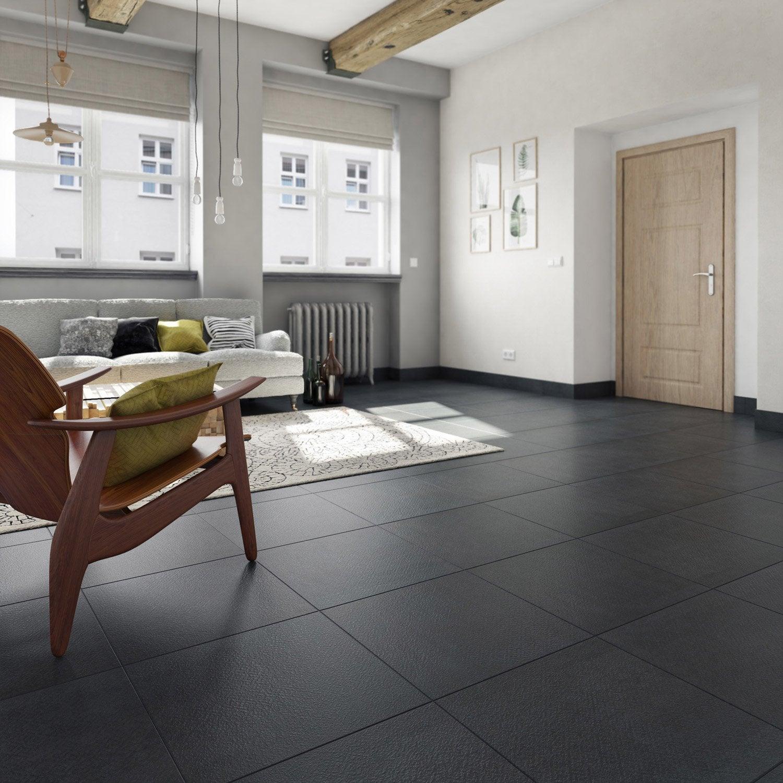 Carrelage sol noir effet ciment Tonnerre l.59.7 x L.59.7 cm   Leroy ...