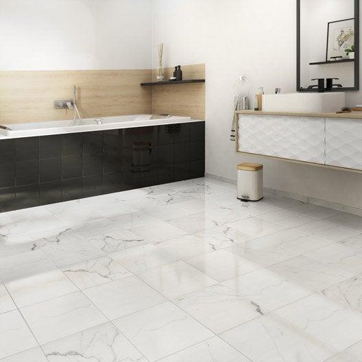 Carrelage sol et mur blanc effet marbre rimini x for Carrelage joint blanc
