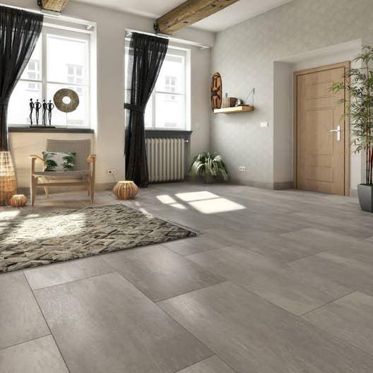 Carrelage sol et mur gris effet pierre atmosphere x l for Carrelage sol mur