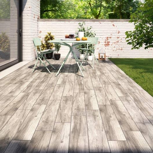 Carrelage sol brun cendr effet bois elbe x cm - Carrelage exterieur effet bois ...