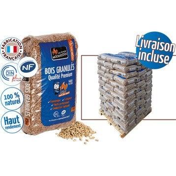 Granulés de bois WOODSTOCK 1 palette, 78 sacs de 15 kg, 1170 kg
