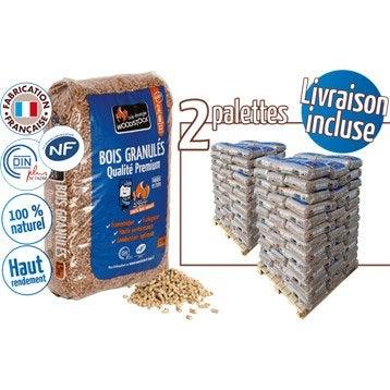 Granulés de bois WOODSTOCK 2 palettes, 156 sacs de 15 kg, 2340 kg