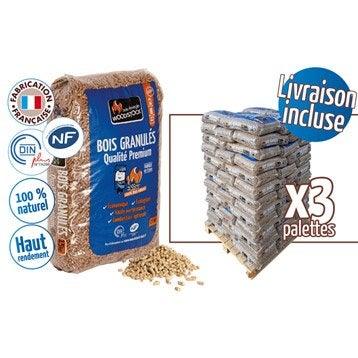 Granulés de bois WOODSTOCK 3 palettes, 234 sacs de 15 kg, 3510 kg