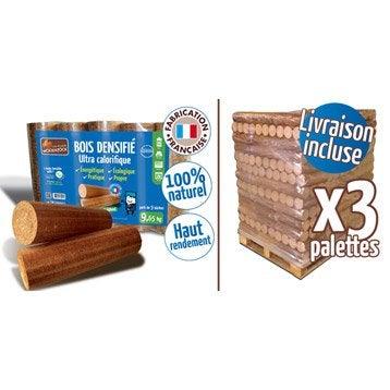 Bûches calorifiques WOODSTOCK 3 palettes, 312 sacs de 5 bûches