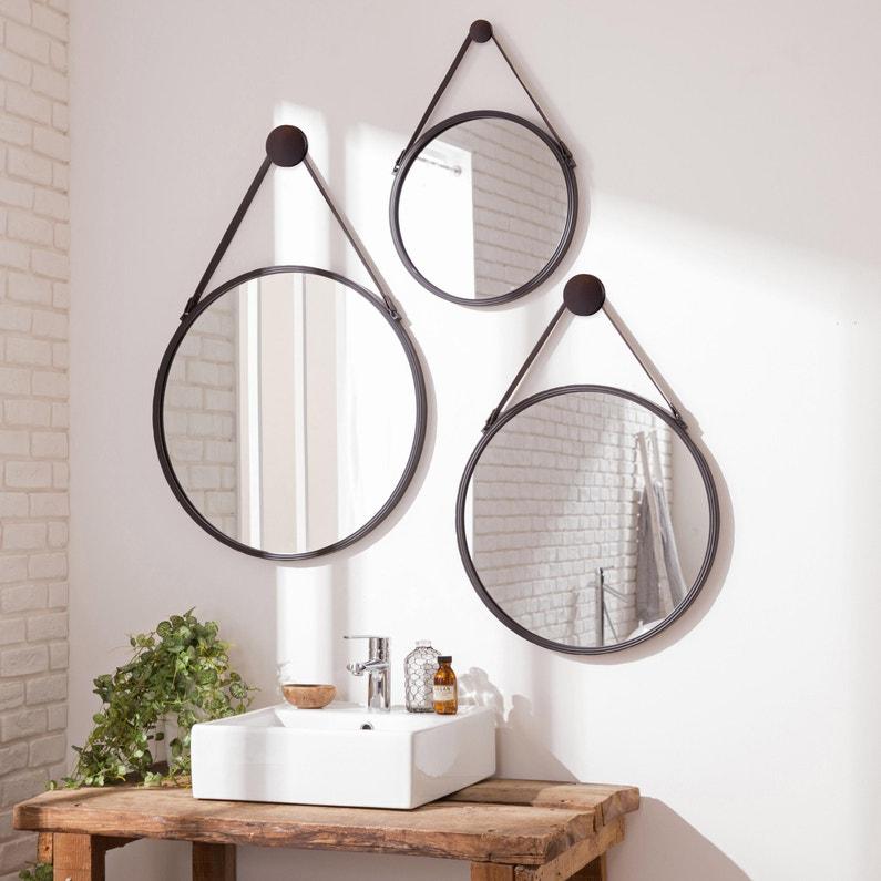 Miroir rond Barbier, noir, l.39 x H.39 cm