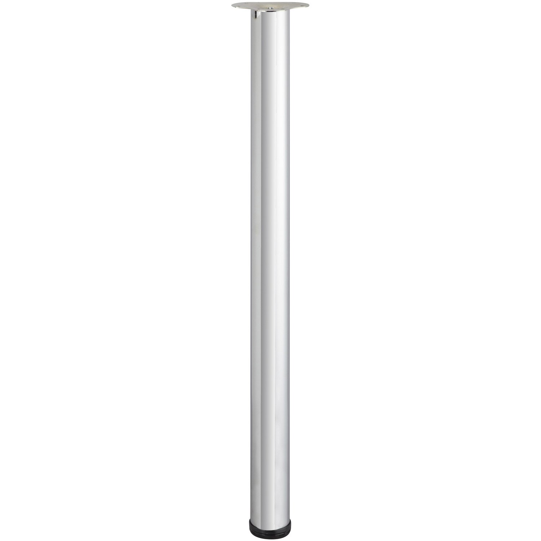 Pied De Table Cylindrique Reglable Acier Chrome Gris De 110 A 113