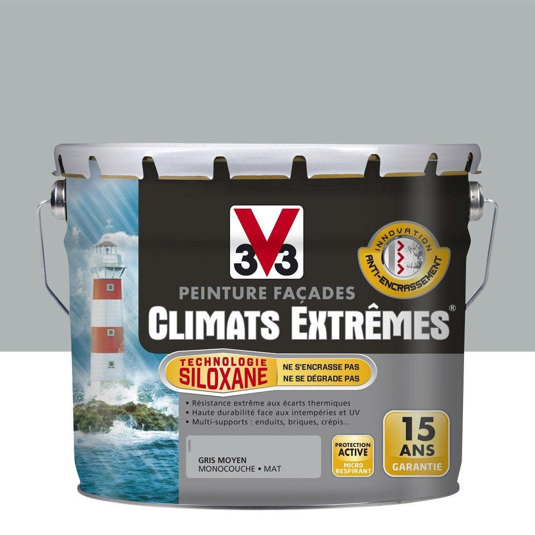 peinture fa ade climats extr mes v33 gris moyen 10 l. Black Bedroom Furniture Sets. Home Design Ideas