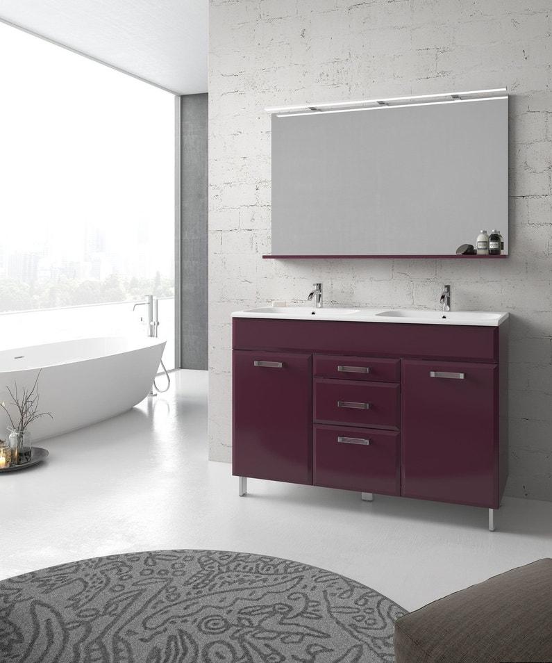 un meuble de salle de bains aubergine avec deux portes et trois tiroirs leroy merlin. Black Bedroom Furniture Sets. Home Design Ideas