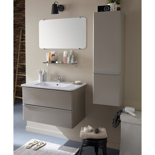 Meuble sous vasque miroir x x cm taupe for Meuble sous vasque 40 cm profondeur