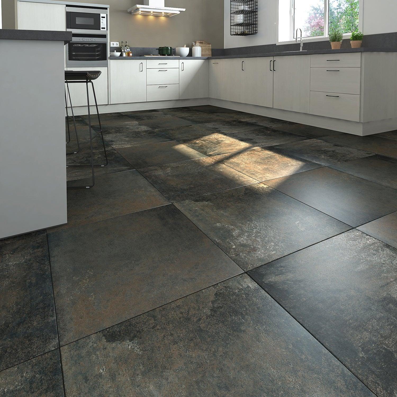 Carrelage sol et mur intenso effet béton noir métallisé Preston l.60 x L.60 cm