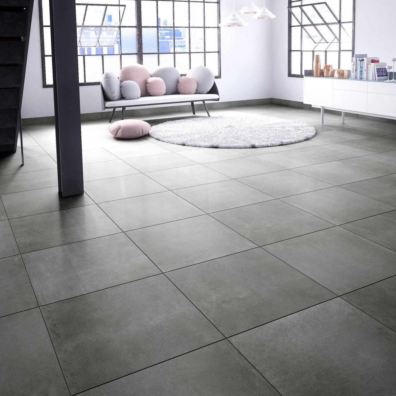 Carrelage sol et mur noir aspect béton l603 x L603 cm ...