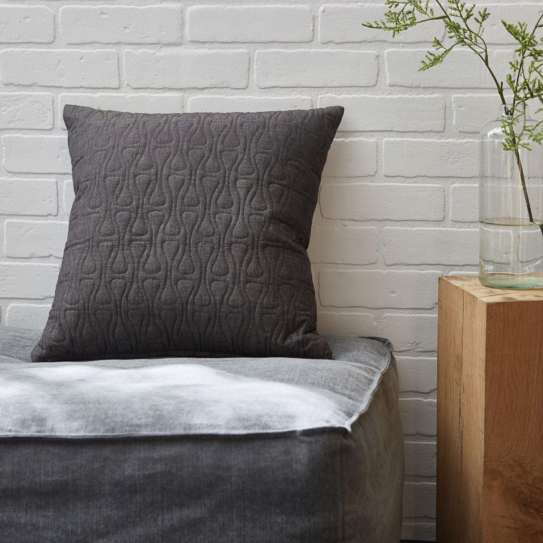 Coussin Fuji INSPIRE, gris l.45 x H.45 cm