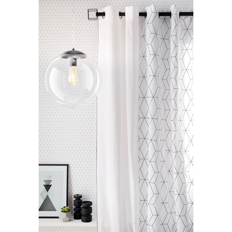 rideau tamisant elis blanc et noir 140x260 cm inspire. Black Bedroom Furniture Sets. Home Design Ideas