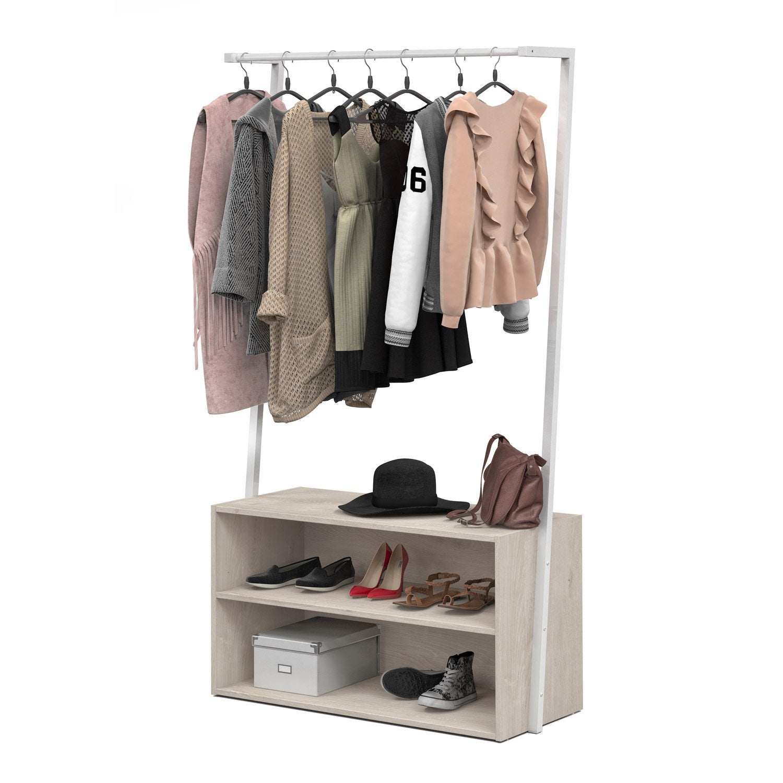 penderie et caisson blanc bois et m tal x x cm leroy merlin. Black Bedroom Furniture Sets. Home Design Ideas