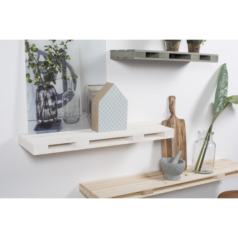 etagère palette blanc brut, l.80 x h.5 x p.23.5 cm, ep.50 mm | leroy