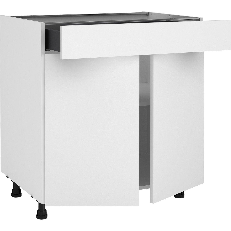 Meuble bas de cuisine Sofia blanc, 100 portes et 10 tiroir H.10 l.10