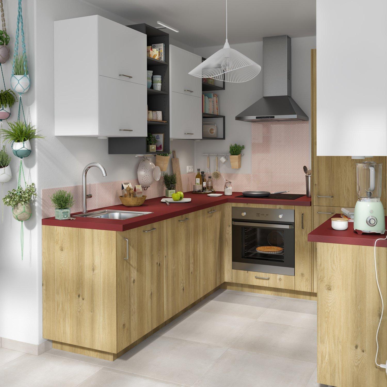 Cuisine Équipée En Bois Rouge cuisine bois et blanche | leroy merlin