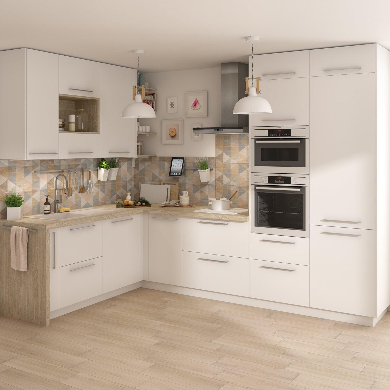 cuisine blanche et plan de travail stratifi leroy merlin. Black Bedroom Furniture Sets. Home Design Ideas