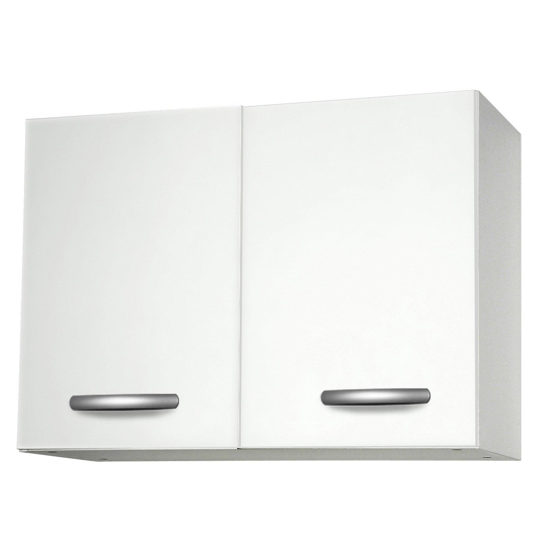 Meuble de cuisine haut 2 portes, blanc, h57.9x l80x p35.2cm   Leroy ...