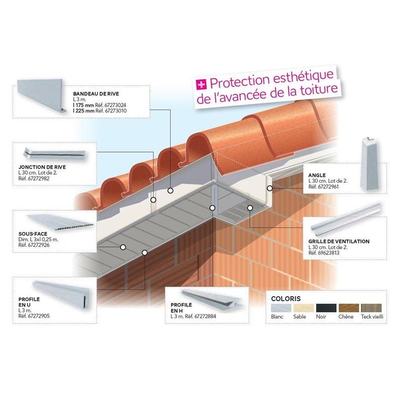 Angle Extérieur Pour Bandeau De Rive N50 50lm Blanc Pvc L300 Mm
