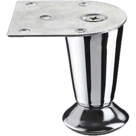 Pied de meuble cylindrique fixe en acier chrom gris 7cm - Leroy merlin pied meuble ...