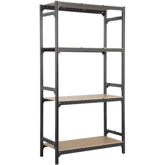 etag re acier spaceo hubsystem 4 tablettes gris charbon x x cm leroy merlin. Black Bedroom Furniture Sets. Home Design Ideas