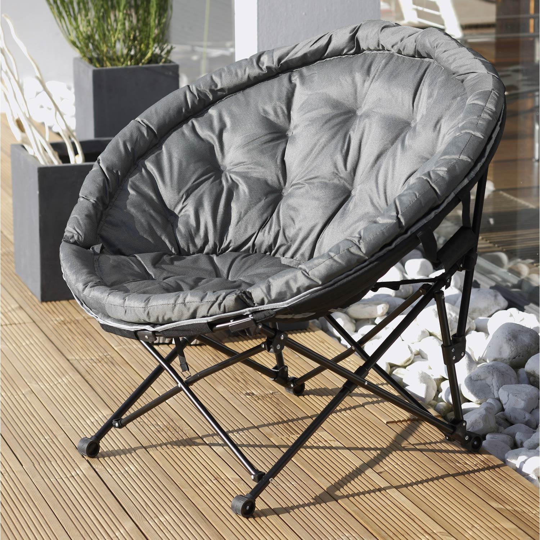 fauteuil de jardin en acier moon noir et gris - Fauteuil De Terrasse
