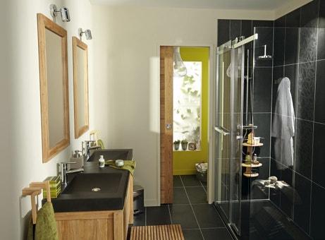 Une salle de bains noire design