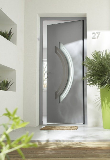 Porte d'entrée en aluminium gris