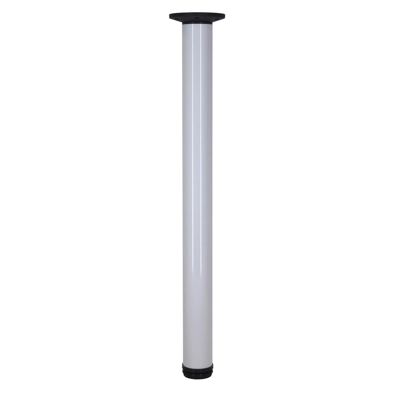 Plan De Travail Sur Pied.Pied De Plan De Travail Cylindrique Reglable Aluminium Blanc 70 A 110 Cm