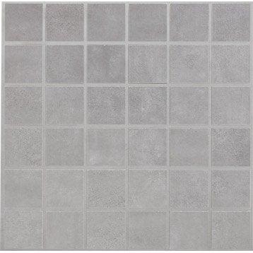 Mosa que et galets pour carrelage de salle de bains - Mur framboise et gris ...
