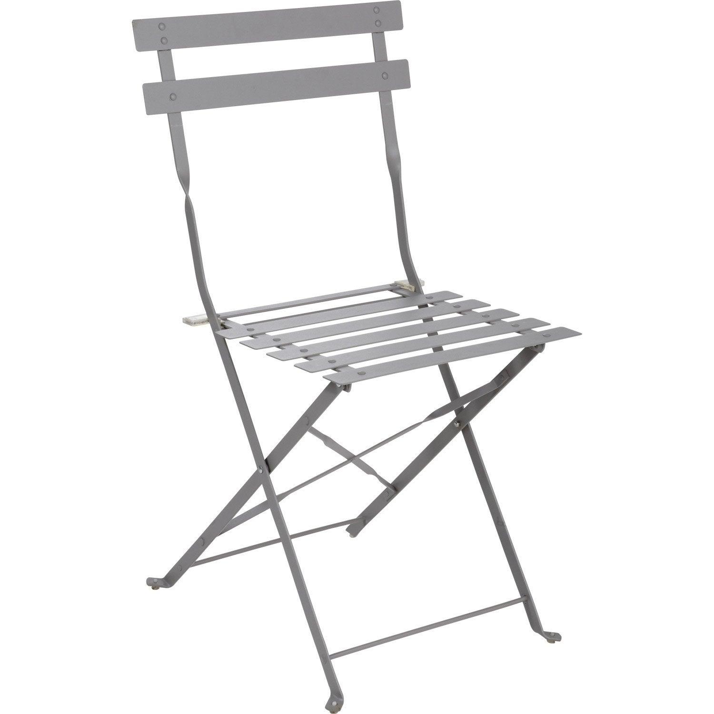 chaise de jardin en acier flore gris - Chaise De Jardin