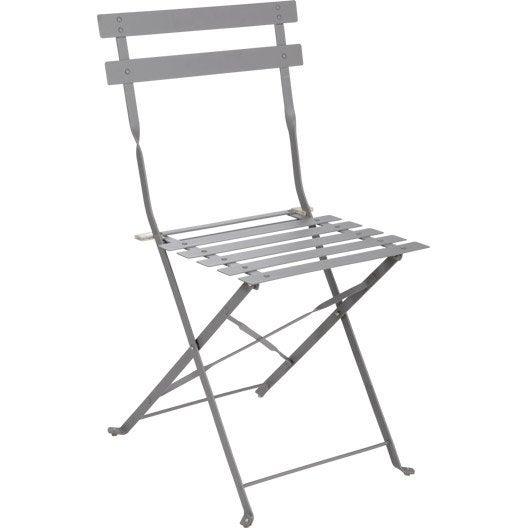 Chaise de jardin en acier flore gris leroy merlin for Chaise jardin castorama