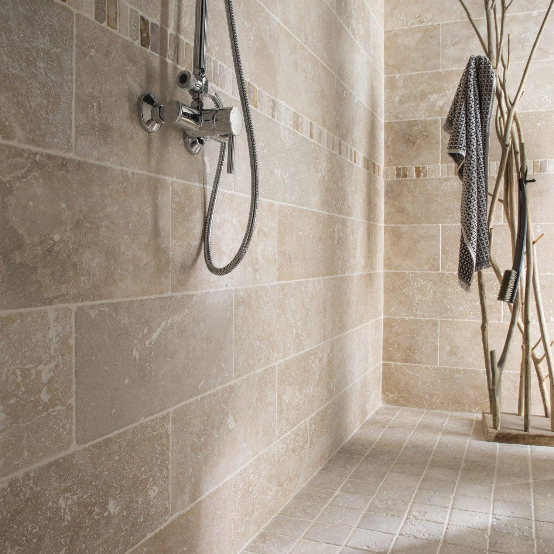 Travertin mur et sol pierre ivoire mat l.10 x L.10 cm