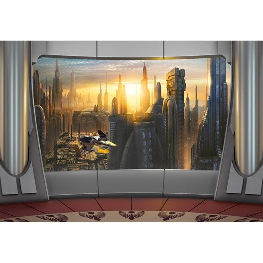 poster gris jaune papier lisse star wars leroy merlin. Black Bedroom Furniture Sets. Home Design Ideas