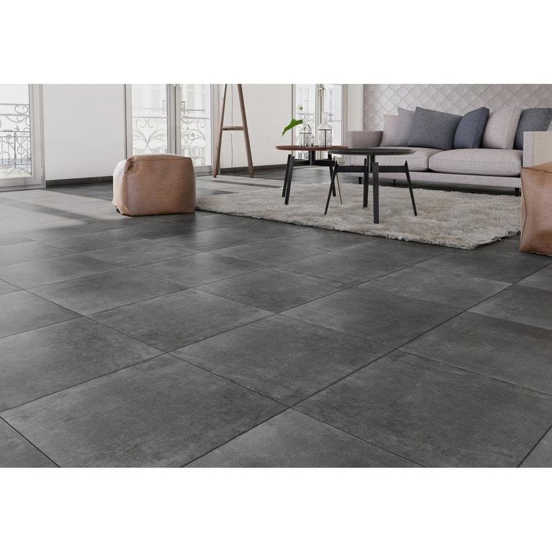 Carrelage sol et mur forte effet béton gris foncé Laiton l.60.4 x L ...