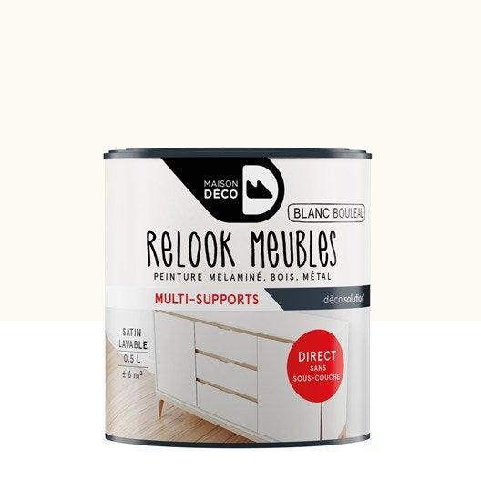Peinture pour meuble objet et porte satin maison deco blanc 0 5 l leroy merlin for Peinture blanche pour meuble