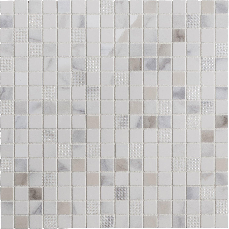 Mosaïque mur Murano carrée blanc carrare 1.7 x 1.7 cm