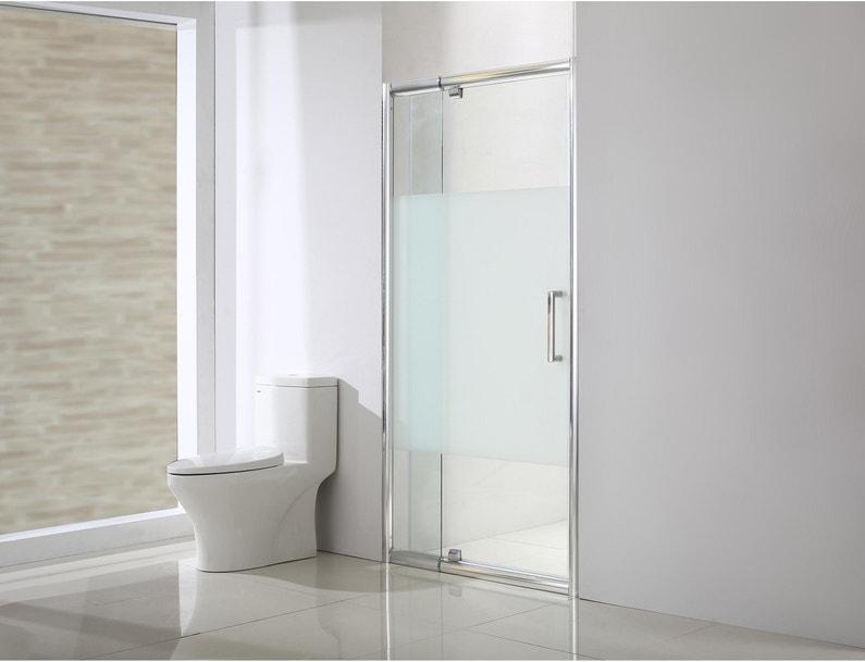Porte de douche pivotante 120 cm, sérigraphié, Quad   Leroy Merlin 1f866cd54d0