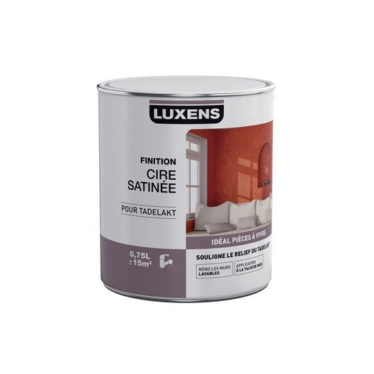Peinture effet cire satin e tadelakt luxens incolore l leroy merlin for Peinture effet cire