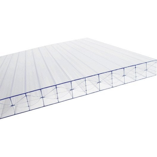 Plaque polycarbonate alv olaire 16mm clair 3 x for Fixation plaque polycarbonate alveolaire