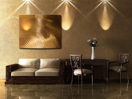 Salon dans les teintes cuivrées avec radiateur mural