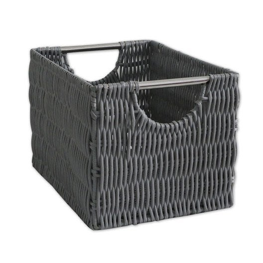 panier en plastique gris galet 3 bombay leroy merlin. Black Bedroom Furniture Sets. Home Design Ideas