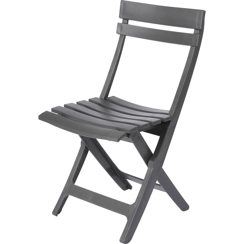 Chaise de jardin en résine Miami anthracite | Leroy Merlin