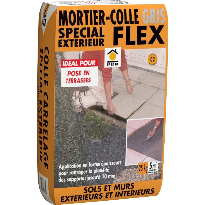 Mortier Colle Ext Rieur Gris Prb 25kg Leroy Merlin ~ Comment Faire Pour Coller Du Carrelage Sur Du Boi