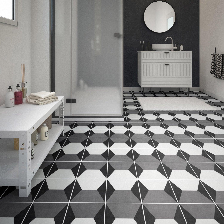 Carrelage Noir Blanc carrelage sol et mur noir blanc effet ciment dément l.20 x l.20 cm